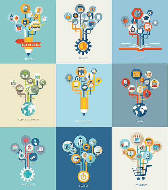 ilustraciones, imágenes clip art, dibujos animados e iconos de stock de abstract trees with icons for web design. - infografías de salud