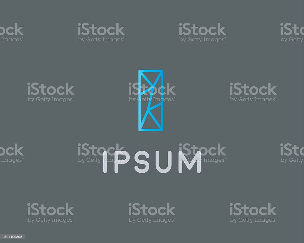 Abstract trend letter I logo design template. Colorful structure creative vector art illustration