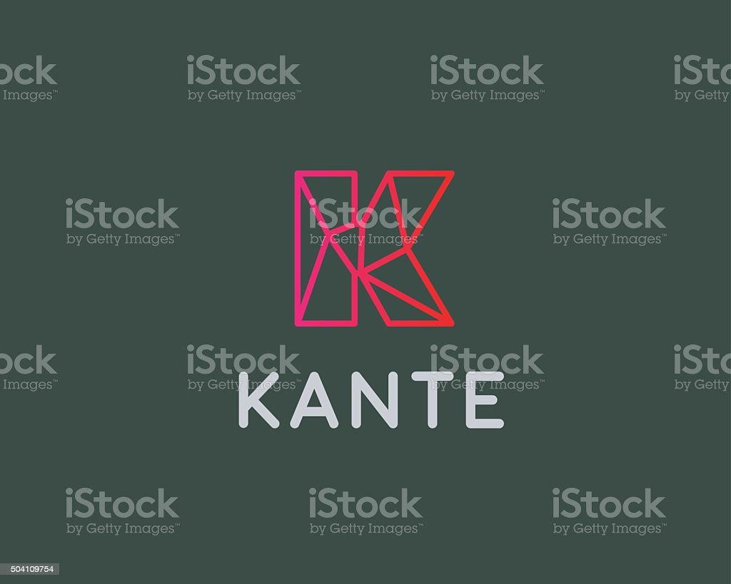 Abstract trend letter K logo design template. Colorful structure creative vector art illustration