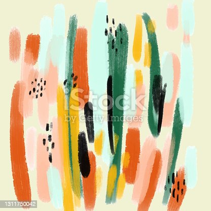 istock Abstract Trendy Hand Drawn Pattern with Color Brush Strokes. Brush strokes, Grunge, Sketch, Graffiti, Paint, Watercolor, Sketch. 1311750042