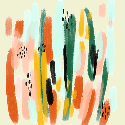 Abstract Trendy Hand Drawn Pattern with Color Brush Strokes. Brush strokes, Grunge, Sketch, Graffiti, Paint, Watercolor, Sketch.