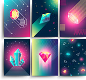 Abstract trendy vector cosmic posters with crystal gems and pyramid geometric shapes. Neon galaxy backgrounds in 80s style
