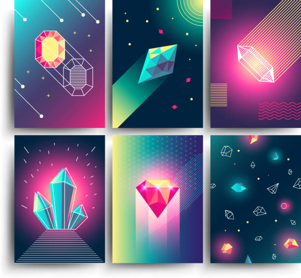 Abstract trendy vector cosmic posters with crystal gems and pyramid geometric shapes. Neon galaxy backgrounds in 80s style Abstract trendy vector cosmic posters with crystal gems and pyramid geometric shapes. Neon galaxy backgrounds in 80s style. Poster with geometric polygon pyramid or crystal illustration diamond gemstone stock illustrations