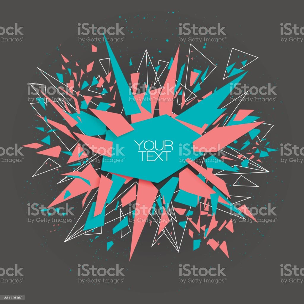 Abstract trendy vector explosion red and blue banner. vector art illustration