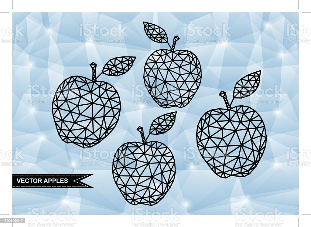 Abstract triangle apples with background royalty-free stock vector art