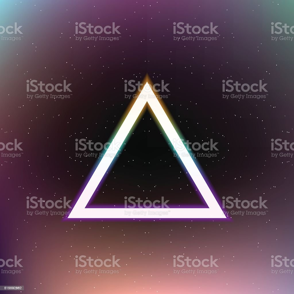 Bright colorful triangle on abstract space background. Vector, eps10.