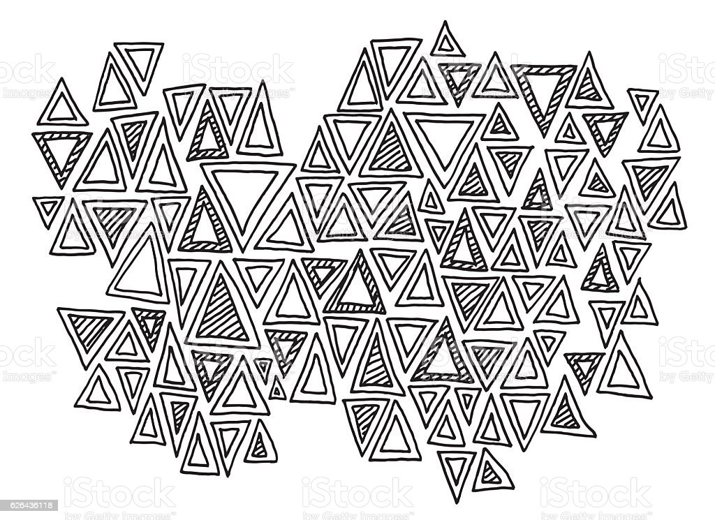 Abstract Triangle Pattern Doodle Drawing vector art illustration