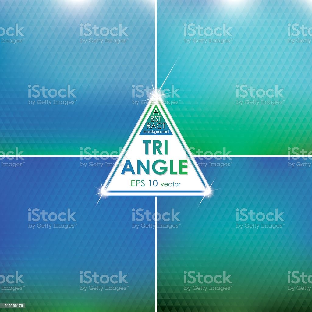 Abstract Triangle shaped backgrounds set Azure-Green Palette vector art illustration