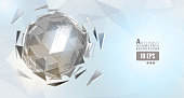 Abstract glowing geometric triangular chrome sphere on bright polygonal bg with modern technology conceptual