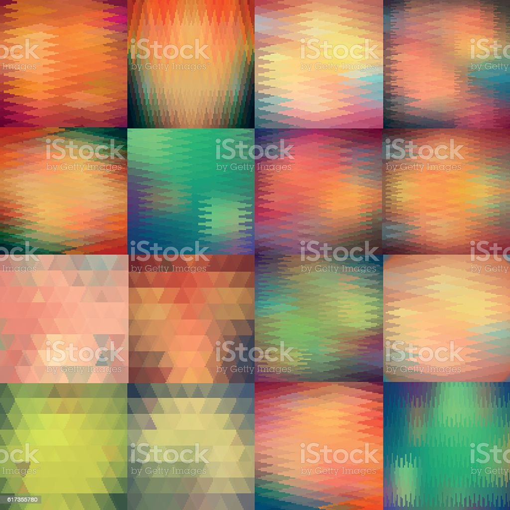 Abstract triangle vector pattern set. Geometric  mosaic backgrounds. vector art illustration