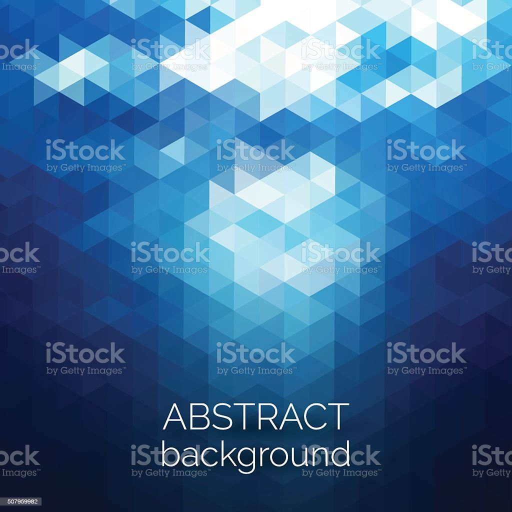 Abstract triangles pattern background. Blue water geometric background vector art illustration