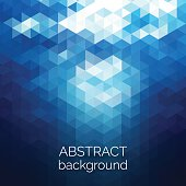 Abstract triangles pattern background. Blue water geometric background