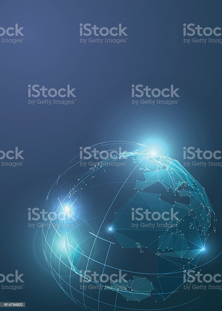 Abstract Triangles Planet Earth in Space. vector art illustration
