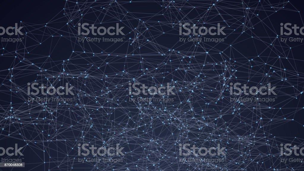 Polietileno baja del espacio triángulos abstractos. Fondo oscuro con puntos y líneas de conexión. Estructura de conexión de luz. Fondo de vector poligonal. HUD futurista. - ilustración de arte vectorial