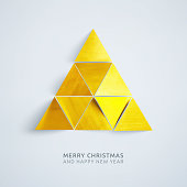 Small triangles composed in one big Christmas Tree in the middle of square light gray paper card.  Minimalistic art design made of small triangular pieces of paper painted on gold color and cut out and arranged very close to each other forming one big triangle. Each piece of paper is arranged in a different angle in effect light and shadows creates a three-dimensional effect.  Christmas Card with text MERRY CHRISTMAS AND HAPPY NEW YEAR. Zoom to see the details. Illustration in vectors. Modern simply and light design.