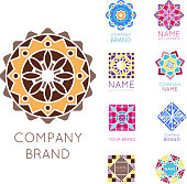 Abstract triangular polygonal shape kaleidoscope geometry company brand symbol badge template circle decorative vector icon.. Oriental floral indian round abstraction ethnic mandala vintage motive.