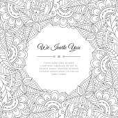 Abstract tribal floral frame background
