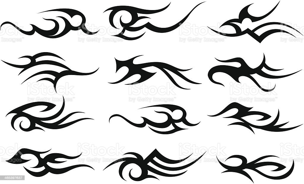 Stock Illustration Volleyball Tribal Abstract Vector: Abstract Tribal Tattoo Elements Set Stock Vector Art