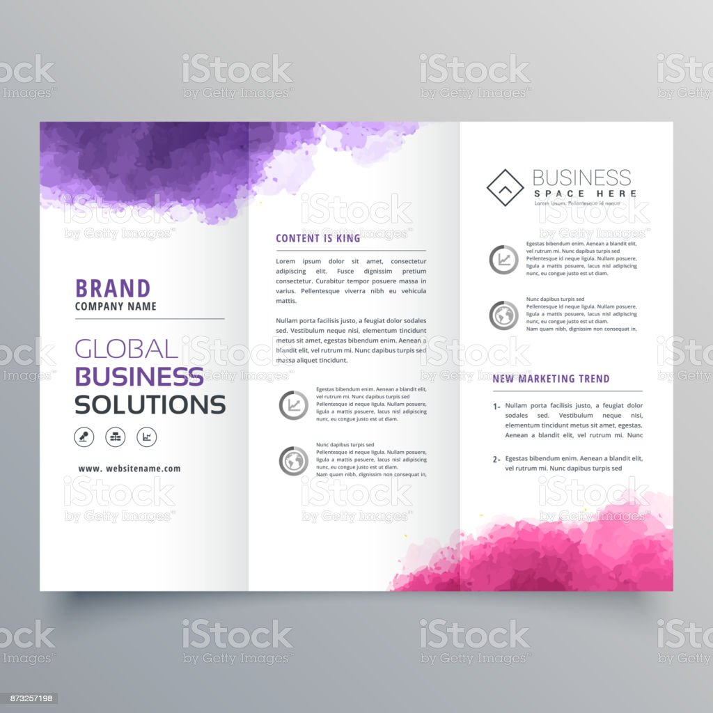 abstract trifold business brochure with watercolor effect vector art illustration