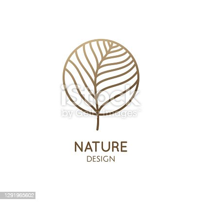 istock Abstract tropic plant minimal logo 1291965602