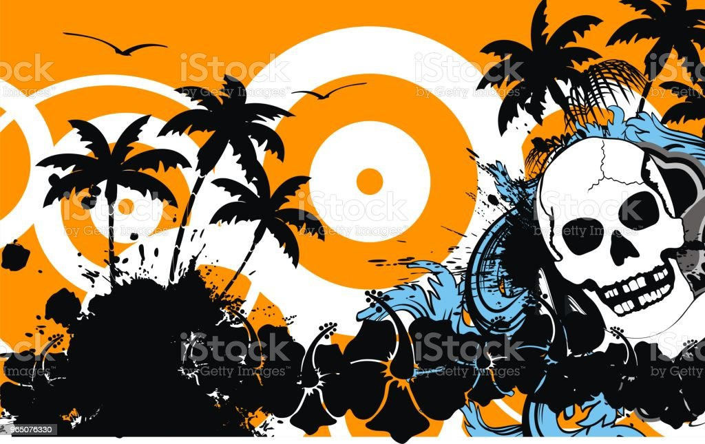 abstract tropic summer hawaiian skull background royalty-free abstract tropic summer hawaiian skull background stock vector art & more images of abstract