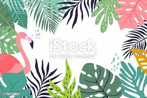 Abstract tropical banner with decorative leaves and flamingo