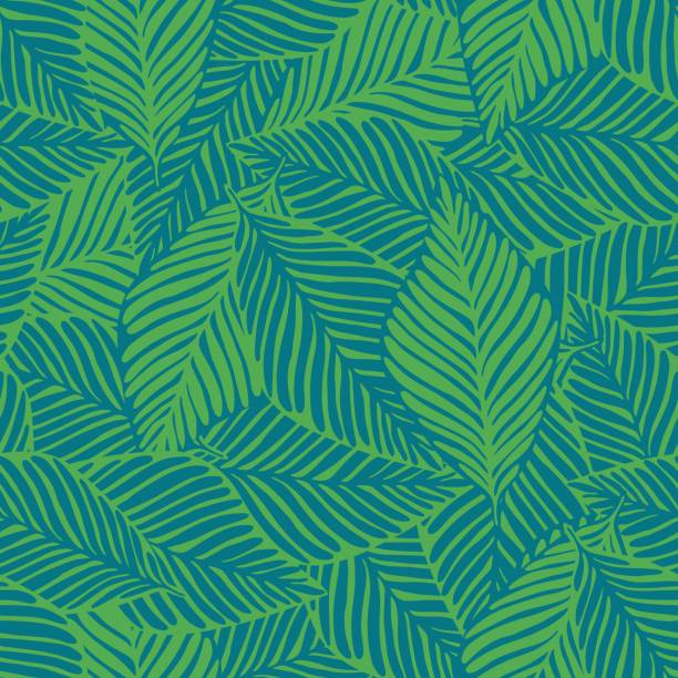 Abstract tropical pattern, palm leaves seamless floral background. Summer nature jungle print. Exotic plant. Tropical pattern, palm leaves seamless vector floral background. hawaiian culture stock illustrations