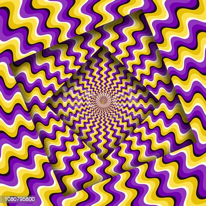 Abstract turned frames with a rotating purple yellow wavy pattern. Optical illusion background.