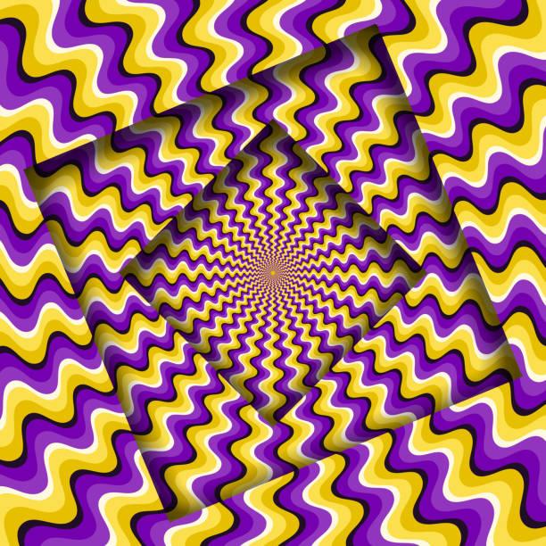 stockillustraties, clipart, cartoons en iconen met abstract draaide frames met een draaiende gele paarse golvende patroon. optische illusie achtergrond. - verbeelding