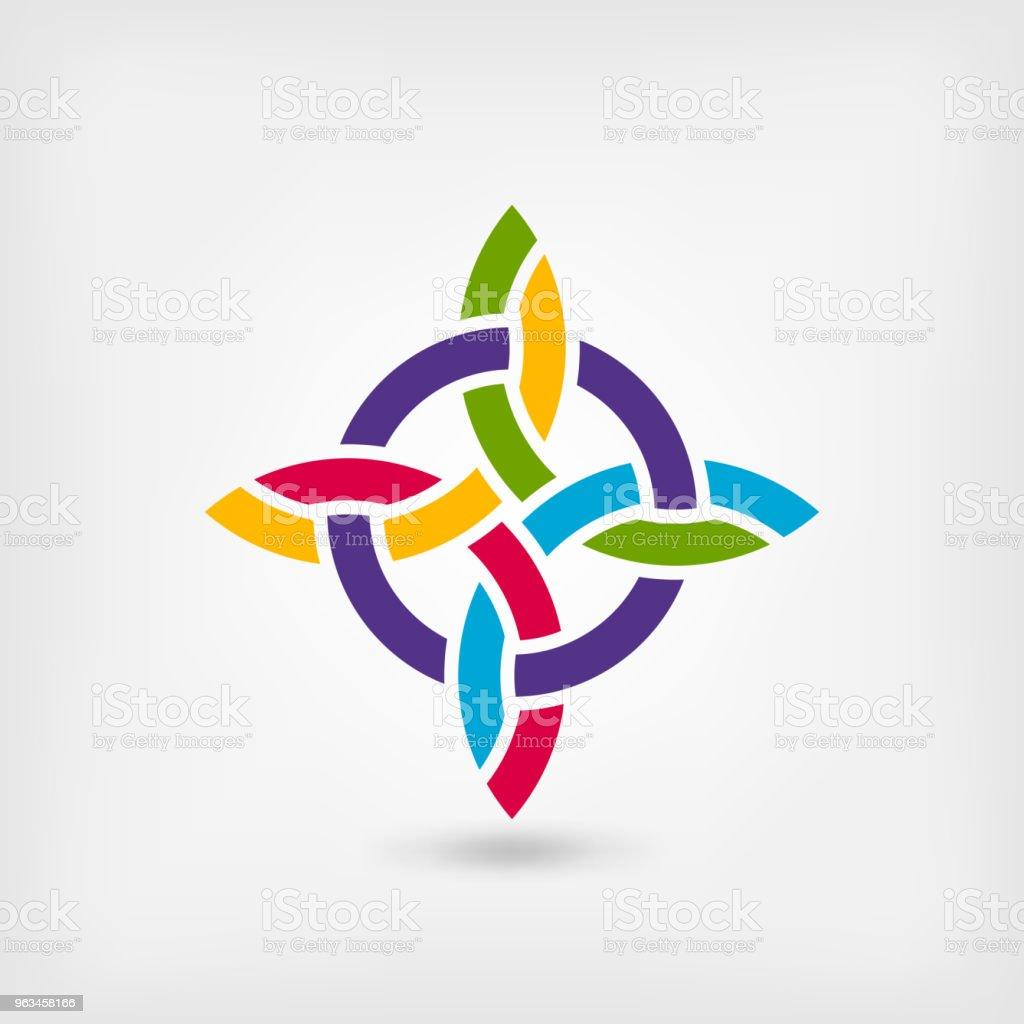 gökkuşağı renkleri soyut bükülmüş sembolü - Royalty-free Amblem Vector Art