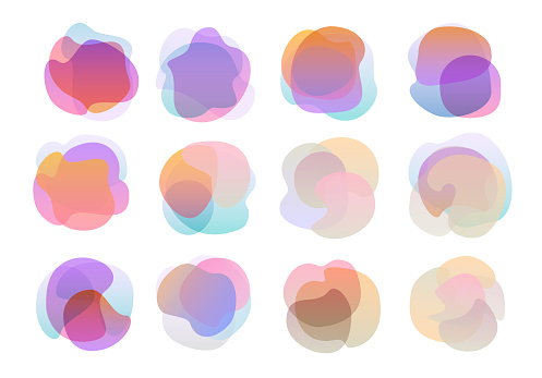 abstract twisted wavy gradient coloured universal shapes set