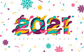 Happy New Year 2021 typography design with abstract paper cut shapes and confetti with snowflakes. Vector illustration.