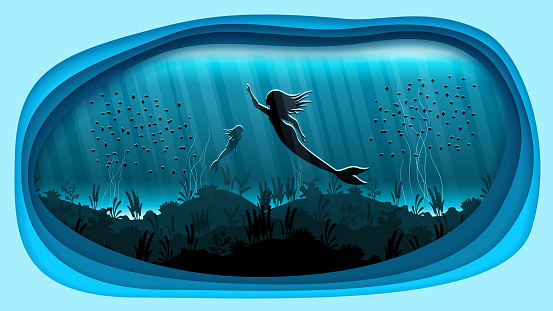 Abstract Underwater Paper Cut Background With Mermaid Fishes Seaweed Vector Design Style