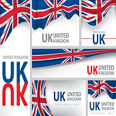 Abstract United Kingdom Flag, English Colors (Vector Art)
