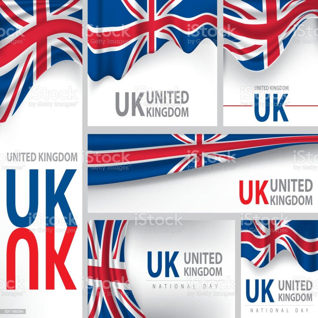 Abstrato Reino Unido, bandeira, vetor arte de cores (em inglês - ilustração de arte em vetor