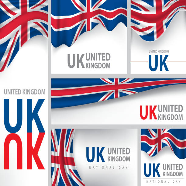 abstract united kingdom flag, english colors (vector art) - uk flag stock illustrations, clip art, cartoons, & icons