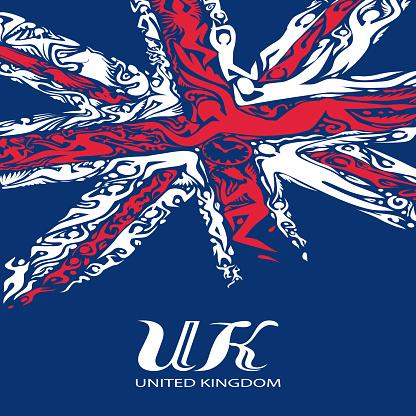 Vetores de Abstrato Reino Unido Bandeira Vetor Arte De Cores Em Inglês e mais imagens de Abstrato