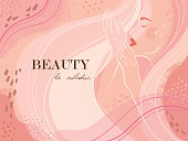 Abstract  universal  beauty template, fashion portrait. Cover, invitation, banner, placard, brochure, poster, card, flyer etc.
