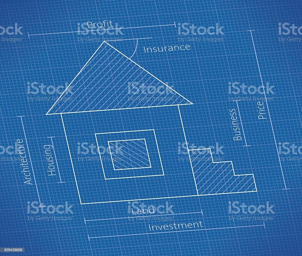 Abstract unusual real property business blueprint with house stock abstract unusual real property business blueprint with house royalty free abstract unusual real property business malvernweather Choice Image