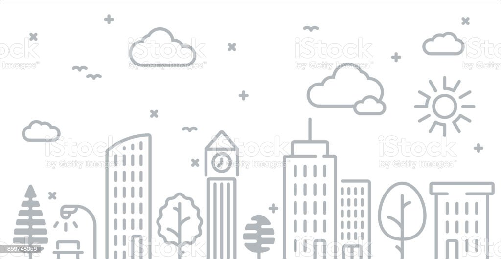 Abstract Urban City Skyline Line Drawing vector art illustration