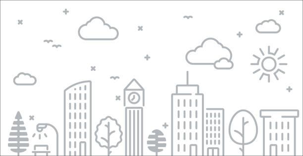 abstrakte urban city skyline strichzeichnung - lampenshop stock-grafiken, -clipart, -cartoons und -symbole