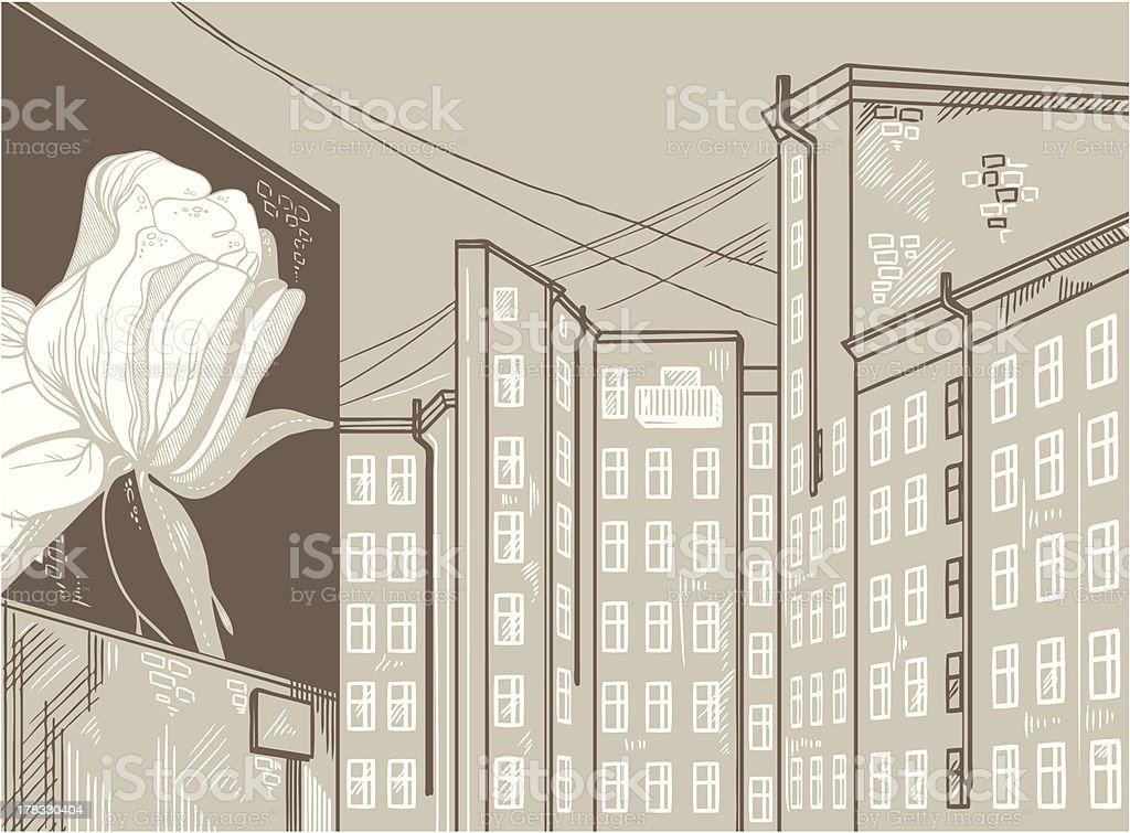 abstract urban sketch: houses and graffiti on wall royalty-free stock vector art