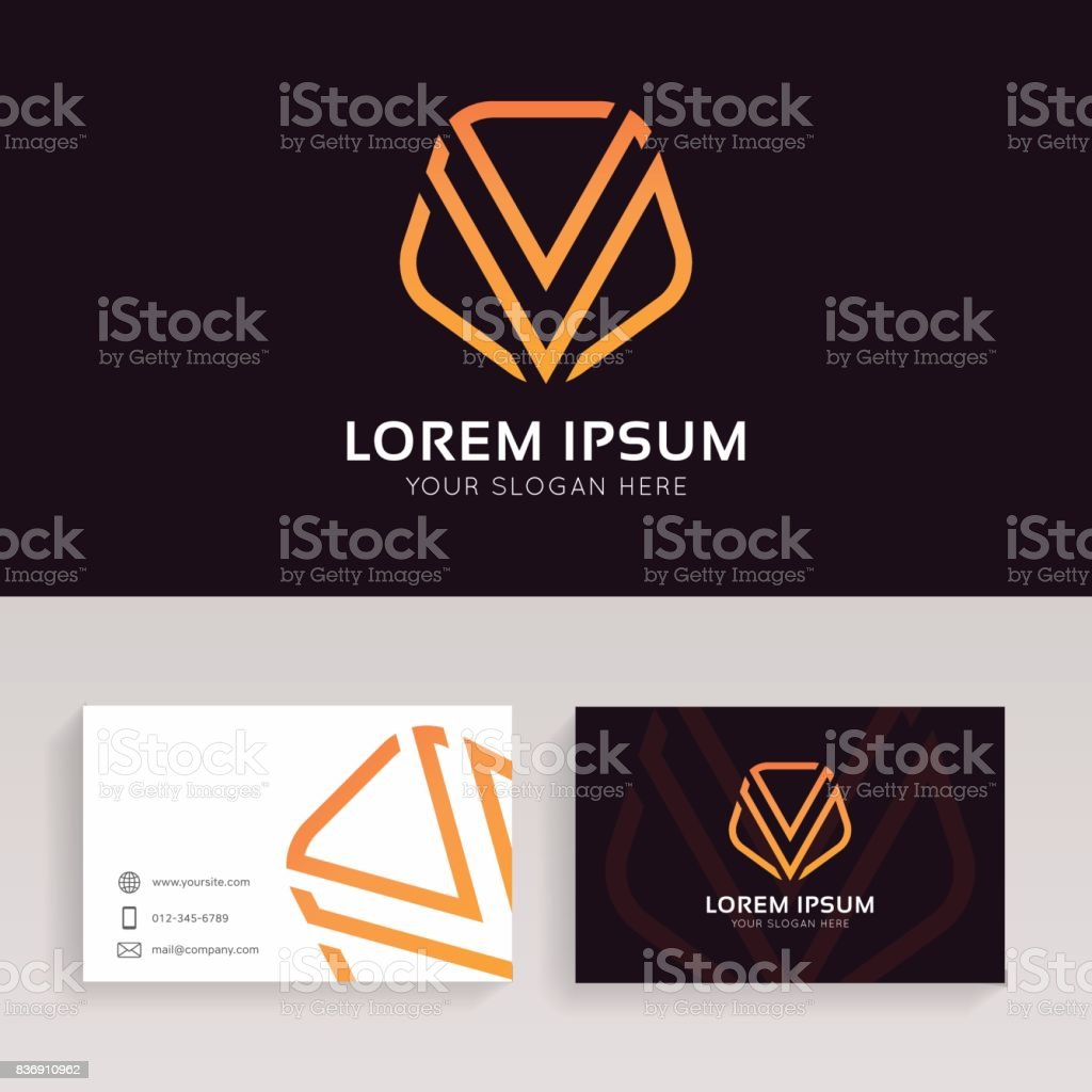 Abstract V Logo Linear Shield Sign With Brand Business Card Vector ...