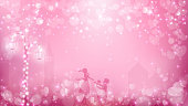 Abstract valentines background as  street view in romantic moment
