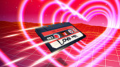 Abstract Valentine's Day romantic card with retro 80s styled landscape and cassette fying through glowing neon hearts in retrowave or synthwave futuristic style