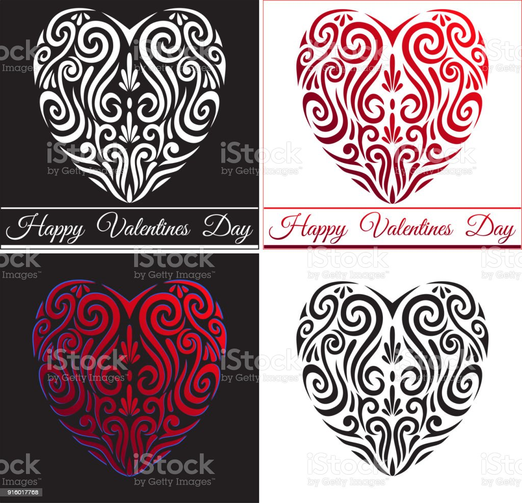 Abstract valentines day red love heart icon stylised maori koru abstract valentines day red love heart icon stylised maori koru tattoo royalty free abstract biocorpaavc Images