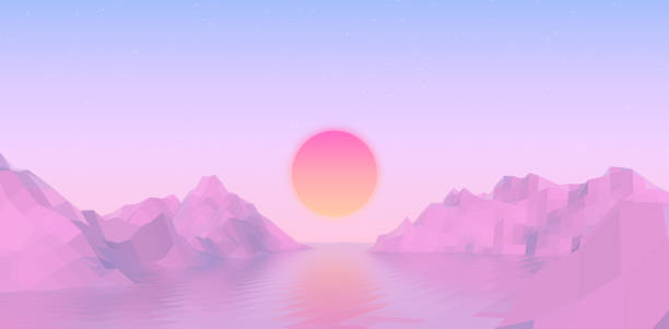 Abstract vaporwave landscape with sun rising over pink mountains and sea on calm pink and blue background. Vector illustration Abstract vaporwave landscape with sun rising over pink mountains and sea on calm soft pink and blue background. Vector illustration early 20th century stock illustrations
