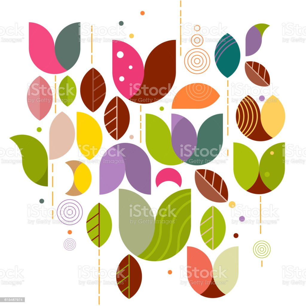 abstract variety floral graphic background on white for corporate vector art illustration