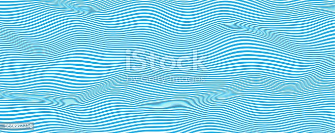 Abstract wave vector background . Stylized flowing water . Graphic line art.