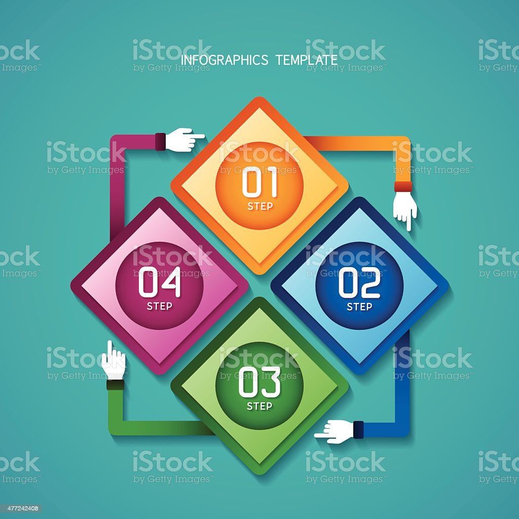 Abstract vector 4 steps infographic template in flat style vector art illustration
